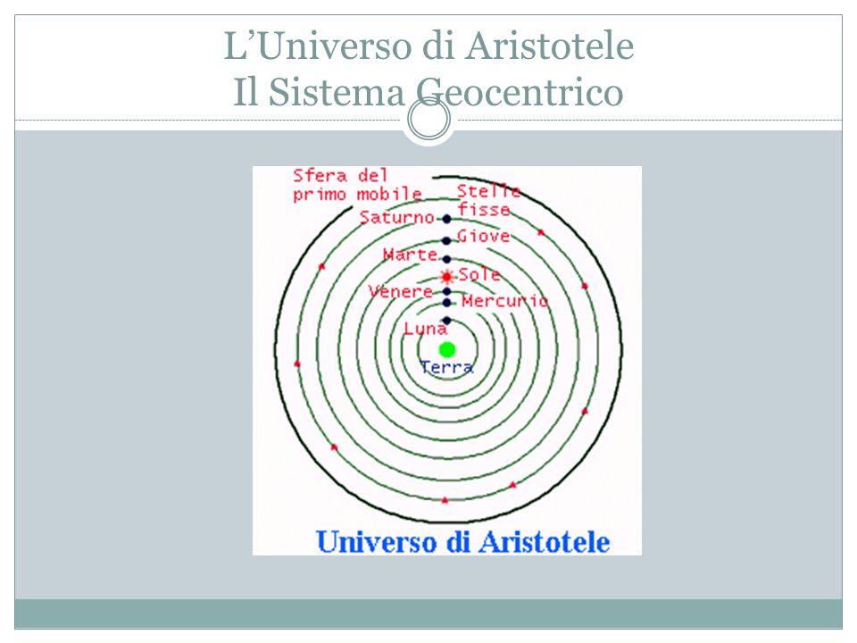 L'Universo di Aristotele Il Sistema Geocentrico