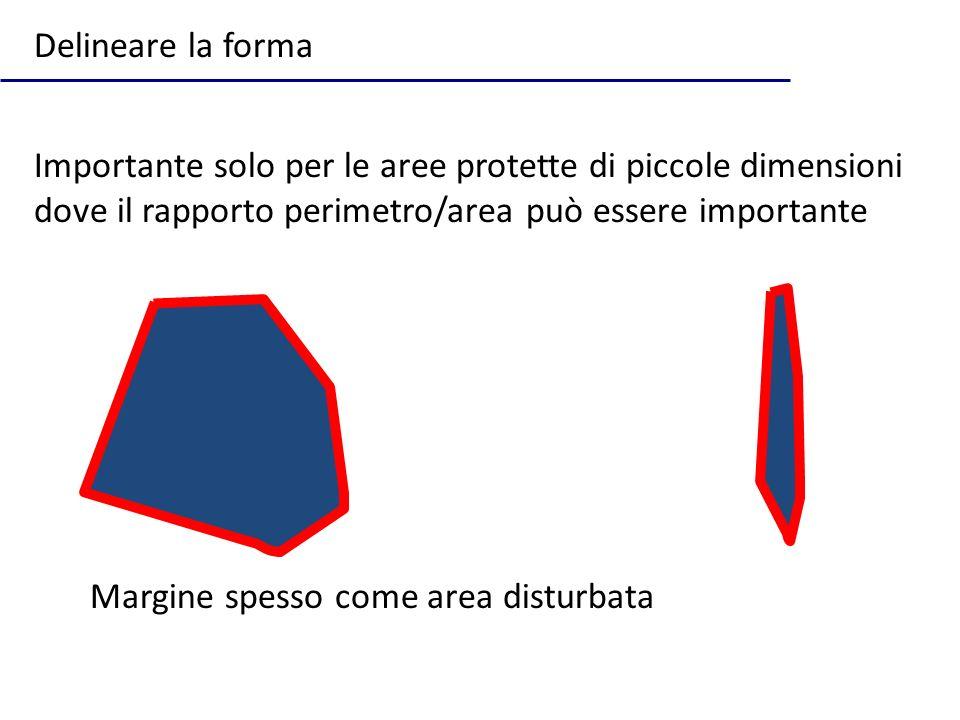 Delineare la forma Importante solo per le aree protette di piccole dimensioni dove il rapporto perimetro/area può essere importante.