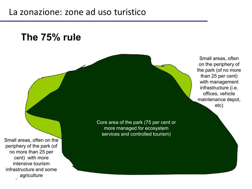 La zonazione: zone ad uso turistico