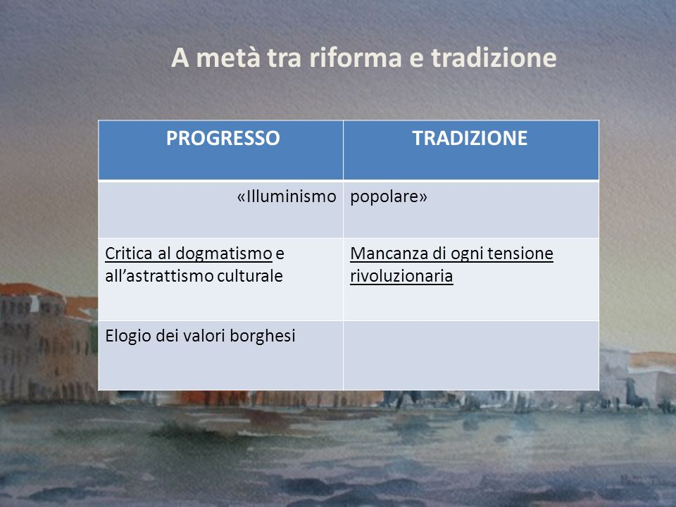 A metà tra riforma e tradizione