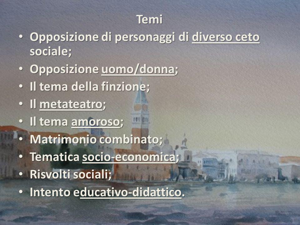 Temi Opposizione di personaggi di diverso ceto sociale; Opposizione uomo/donna; Il tema della finzione;