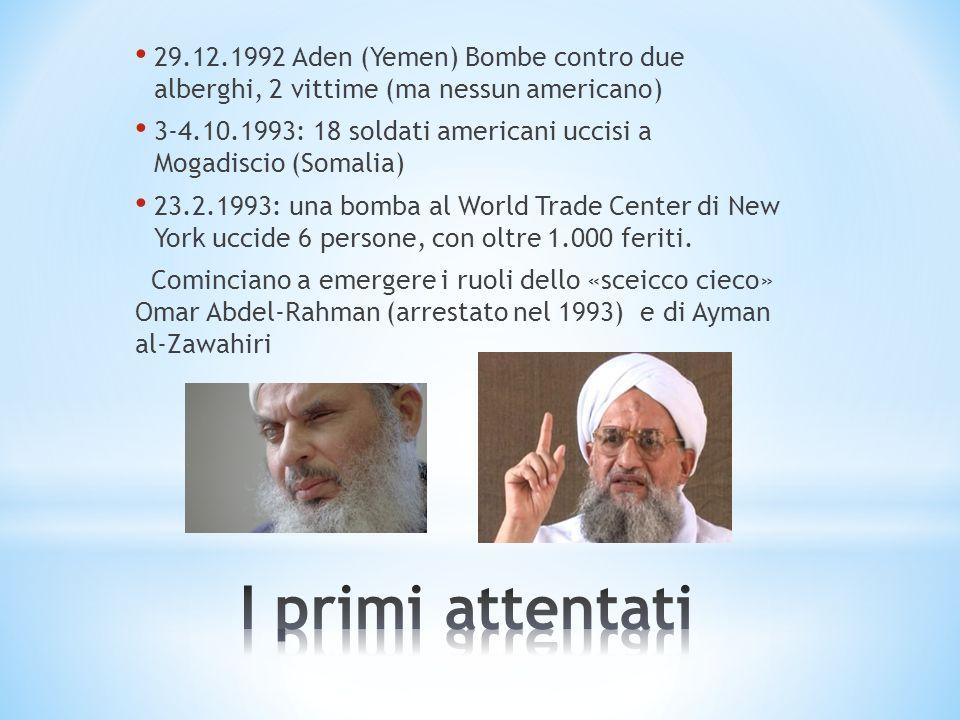 29.12.1992 Aden (Yemen) Bombe contro due alberghi, 2 vittime (ma nessun americano)