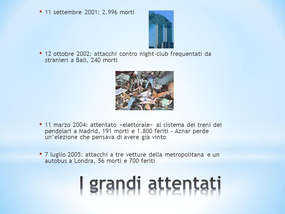 I grandi attentati 11 settembre 2001: 2.996 morti