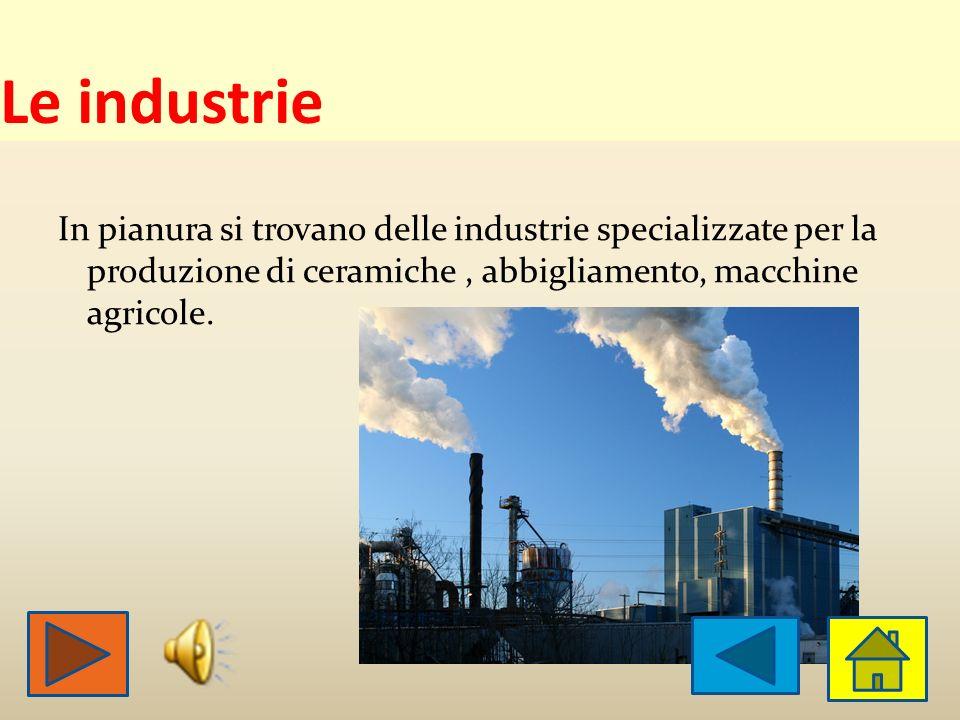 Le industrie In pianura si trovano delle industrie specializzate per la produzione di ceramiche , abbigliamento, macchine agricole.