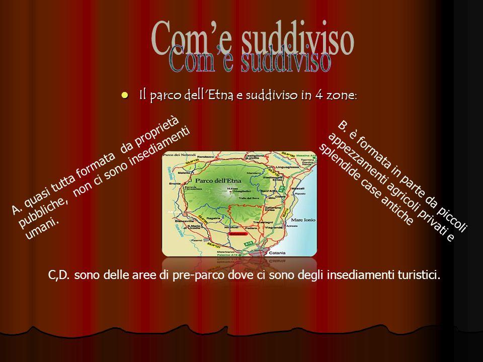 Com'e suddiviso Il parco dell Etna e suddiviso in 4 zone: