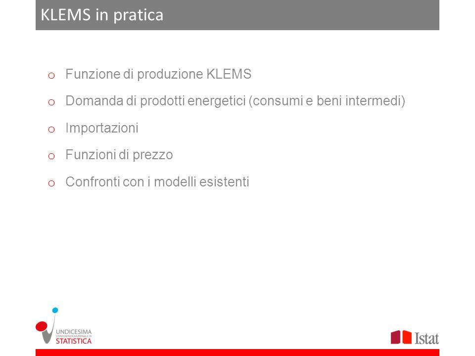 KLEMS in pratica Funzione di produzione KLEMS