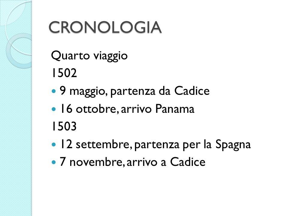 CRONOLOGIA Quarto viaggio 1502 9 maggio, partenza da Cadice