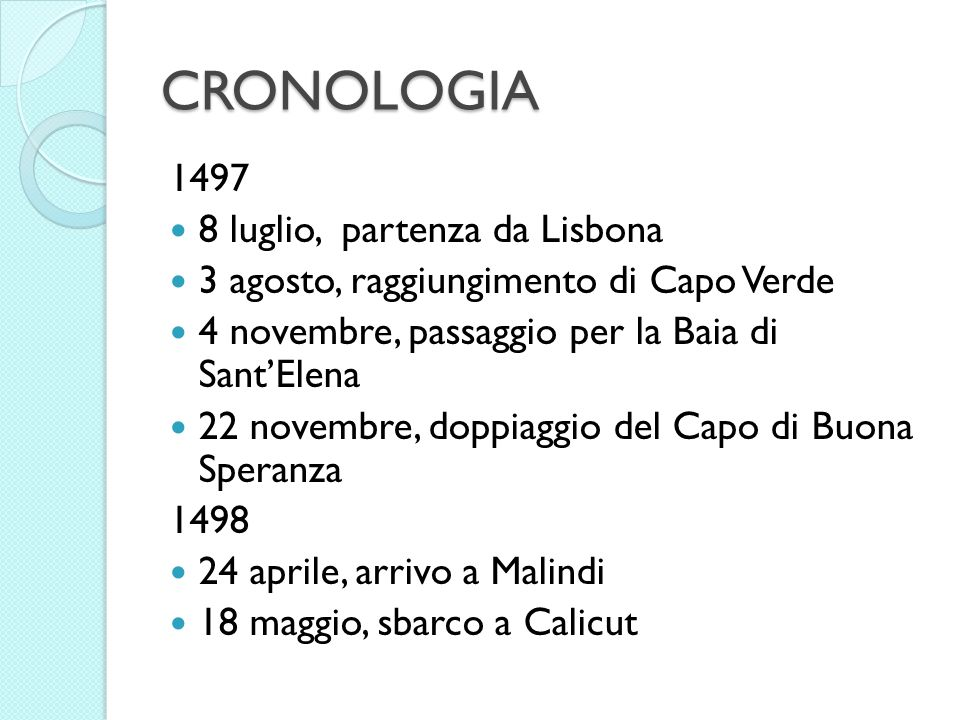 CRONOLOGIA 1497 8 luglio, partenza da Lisbona
