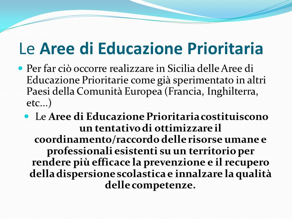 Le Aree di Educazione Prioritaria