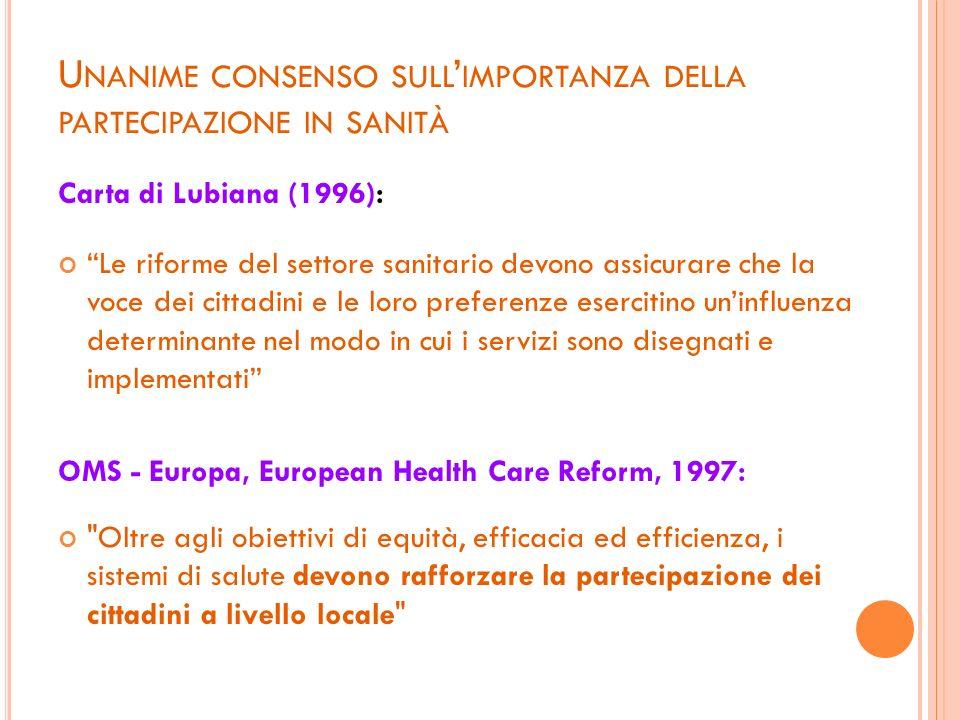 Unanime consenso sull'importanza della partecipazione in sanità