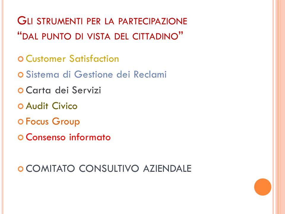 Gli strumenti per la partecipazione dal punto di vista del cittadino