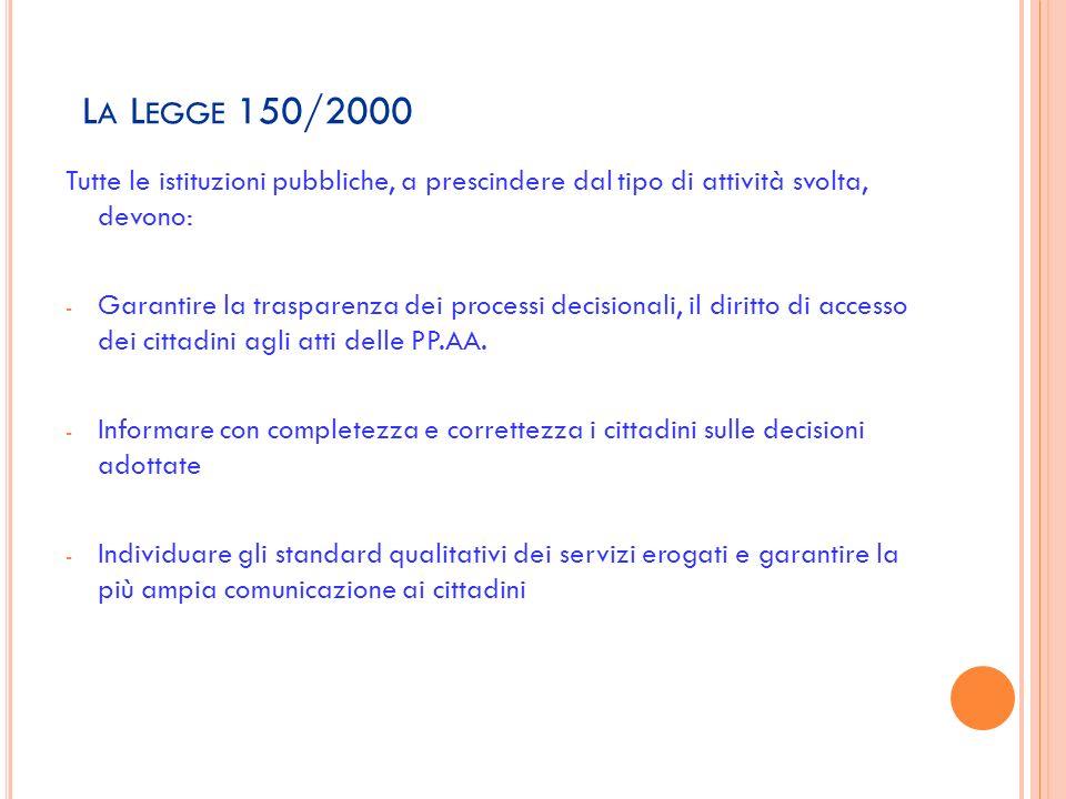 La Legge 150/2000 Tutte le istituzioni pubbliche, a prescindere dal tipo di attività svolta, devono: