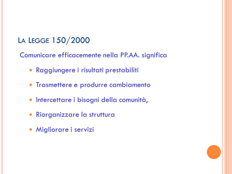 La Legge 150/2000 Comunicare efficacemente nella PP.AA. significa