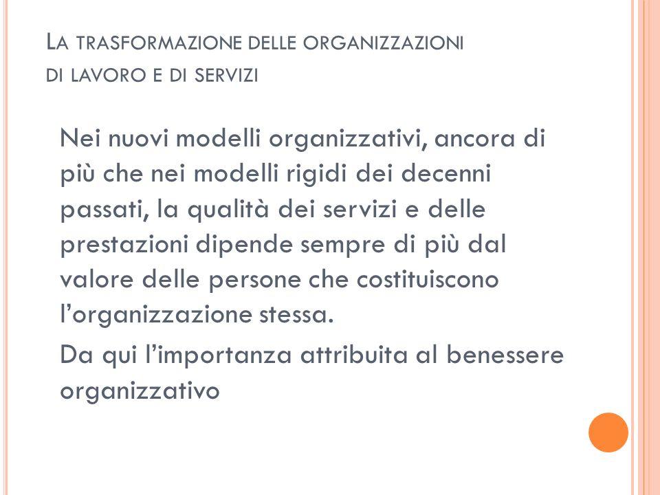 La trasformazione delle organizzazioni di lavoro e di servizi