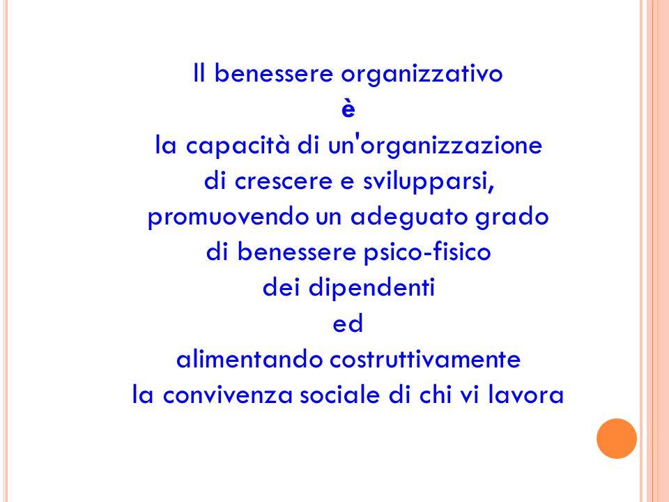 Il benessere organizzativo è la capacità di un organizzazione