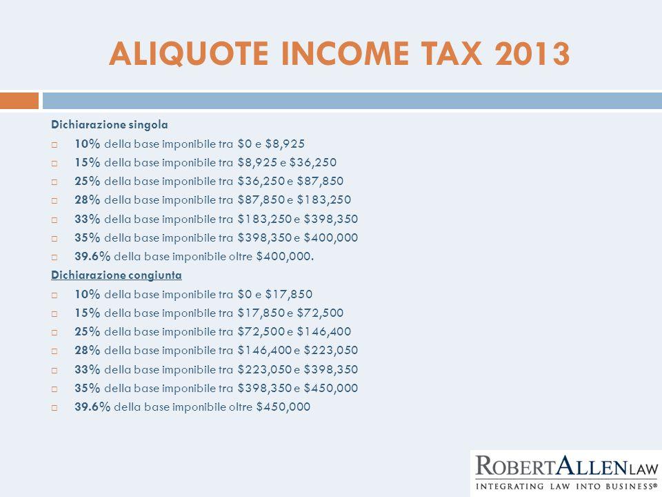 ALIQUOTE INCOME TAX 2013 Dichiarazione singola