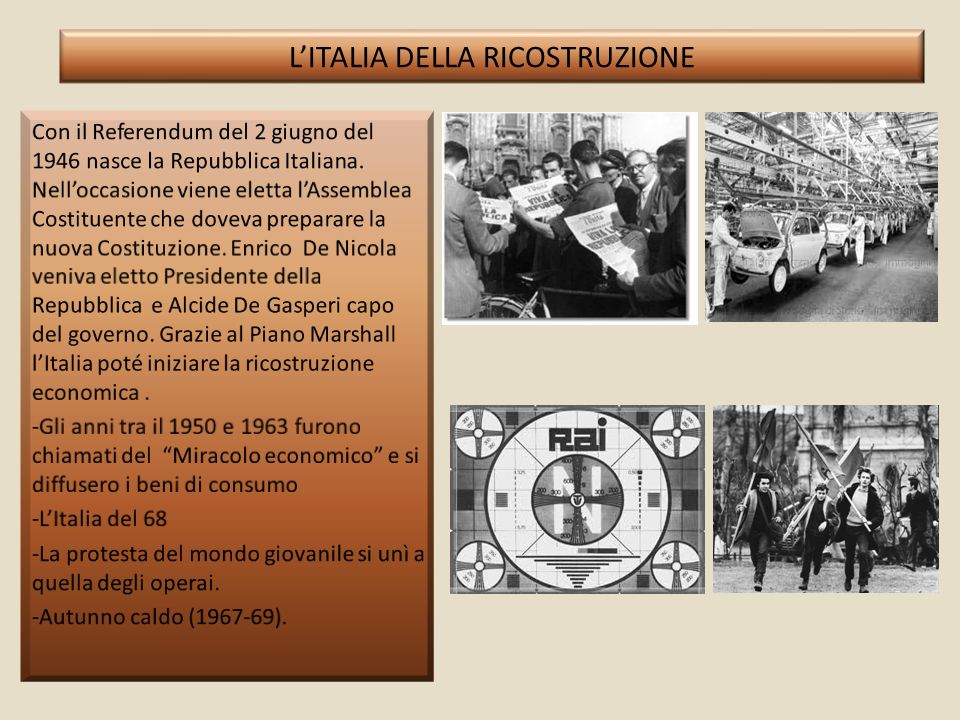 L'ITALIA DELLA RICOSTRUZIONE