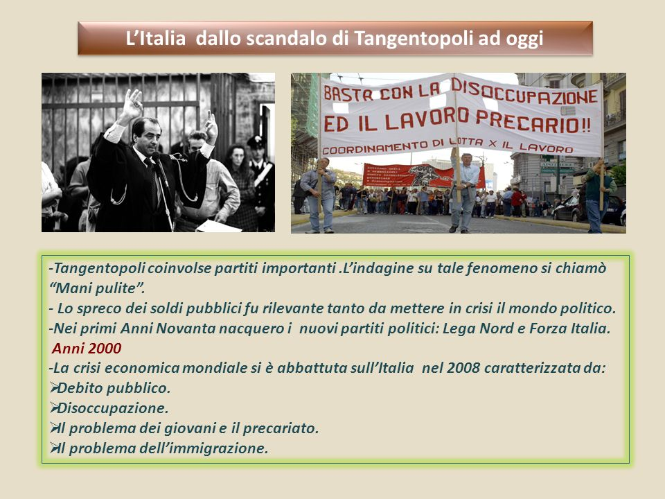 L'Italia dallo scandalo di Tangentopoli ad oggi