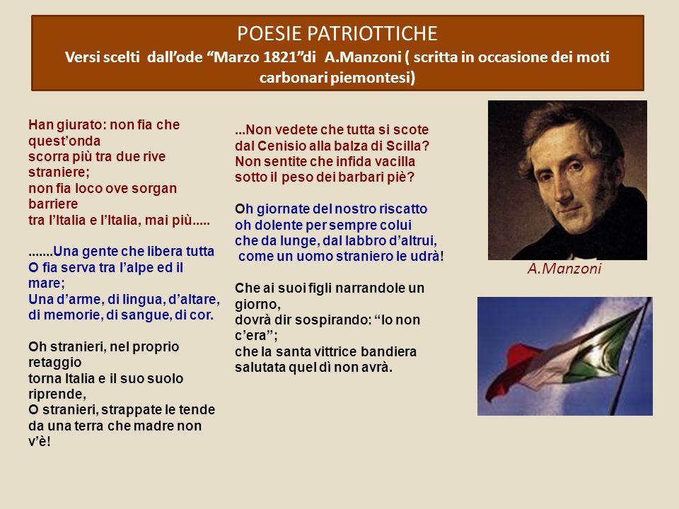 POESIE PATRIOTTICHE Versi scelti dall'ode Marzo 1821 di A