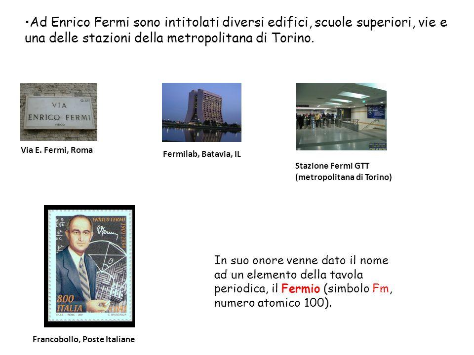 Ad Enrico Fermi sono intitolati diversi edifici, scuole superiori, vie e una delle stazioni della metropolitana di Torino.