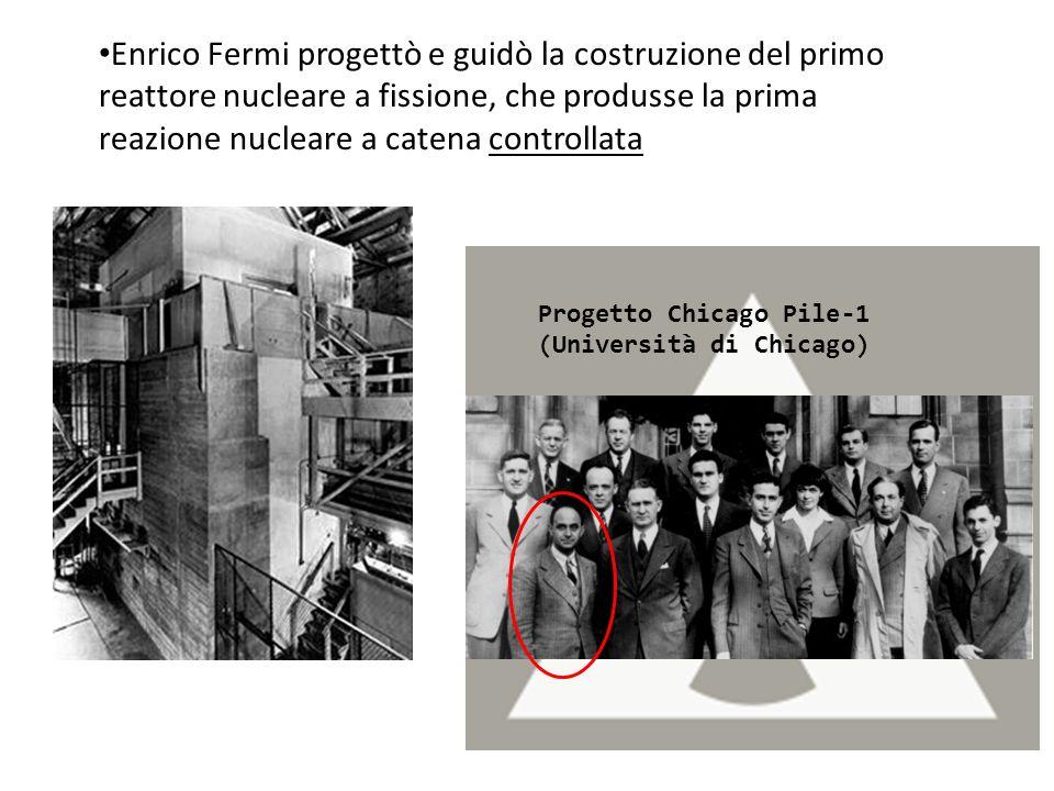 Enrico Fermi progettò e guidò la costruzione del primo reattore nucleare a fissione, che produsse la prima reazione nucleare a catena controllata