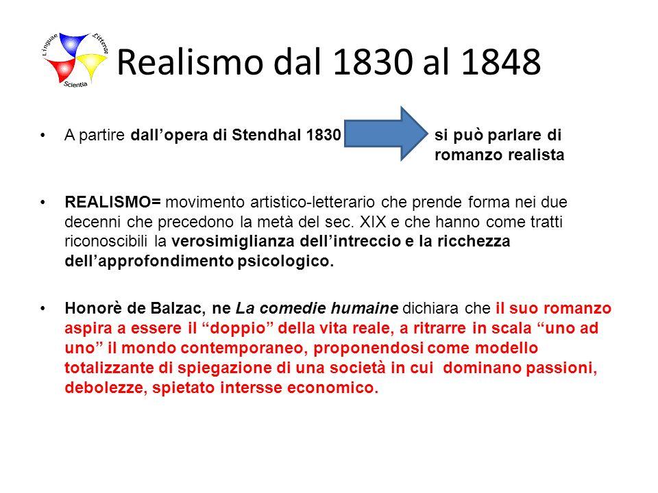Realismo dal 1830 al 1848 A partire dall'opera di Stendhal 1830 si può parlare di romanzo realista.