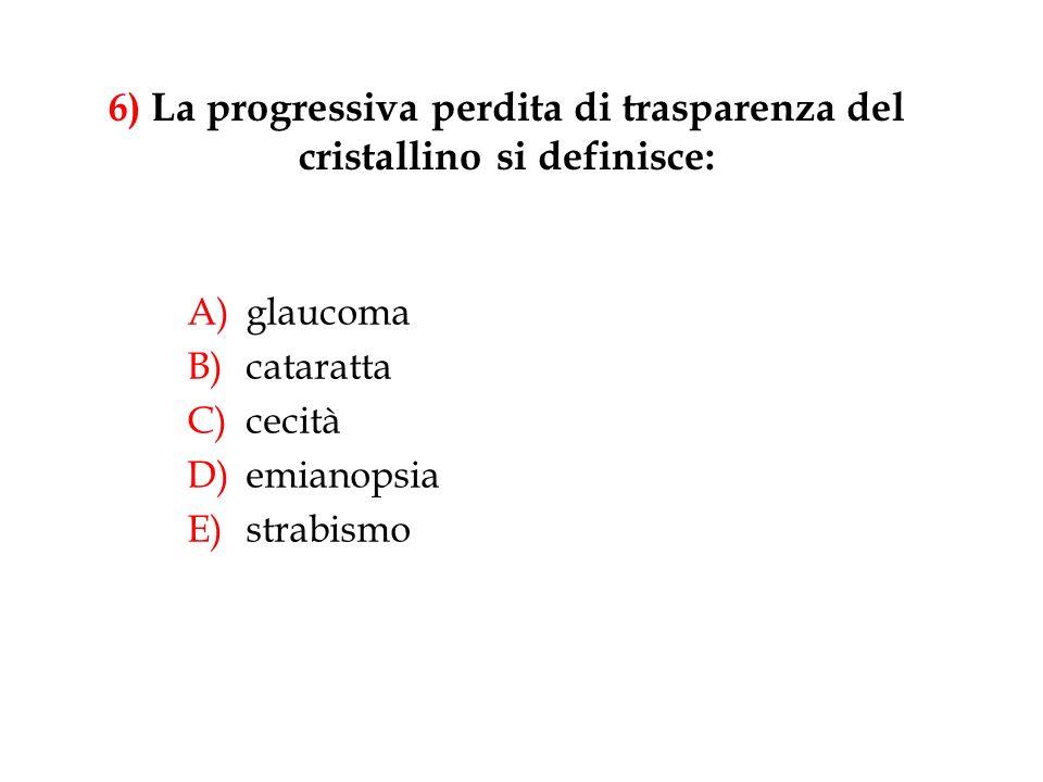 6) La progressiva perdita di trasparenza del cristallino si definisce: