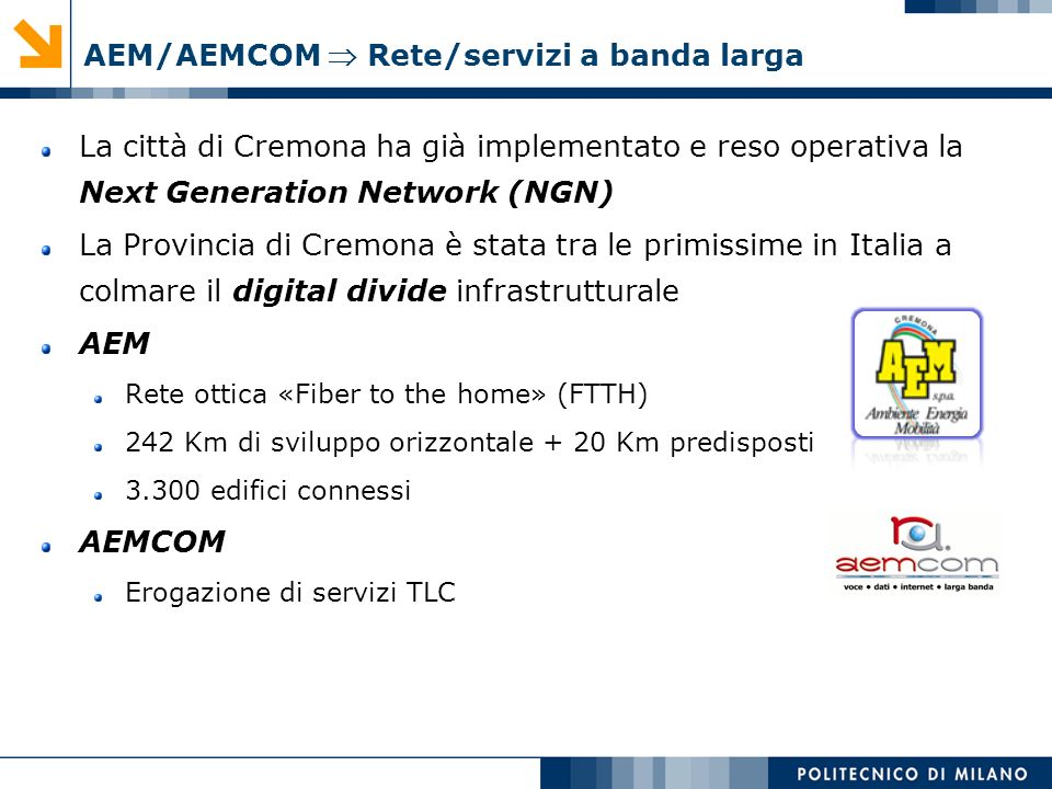 AEM/AEMCOM  Rete/servizi a banda larga