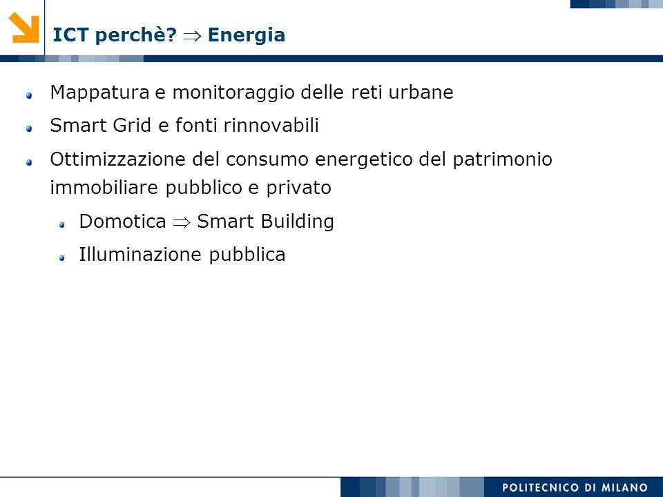 ICT perchè  Energia Mappatura e monitoraggio delle reti urbane. Smart Grid e fonti rinnovabili.