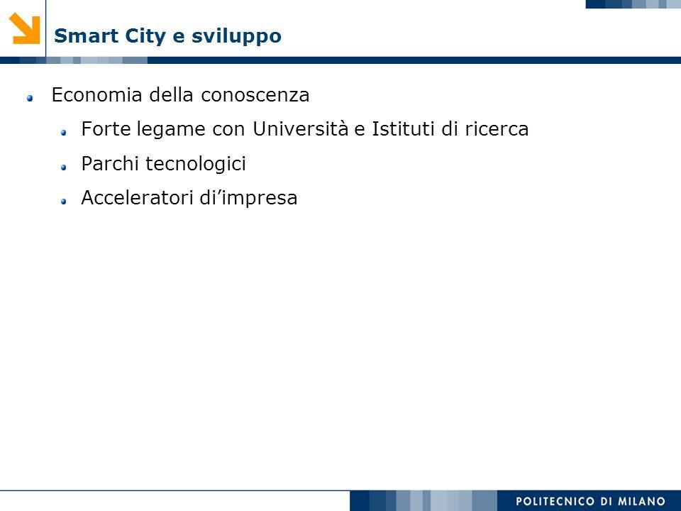 Smart City e sviluppo Economia della conoscenza. Forte legame con Università e Istituti di ricerca.