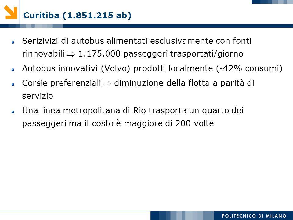 Curitiba (1.851.215 ab) Serizivizi di autobus alimentati esclusivamente con fonti rinnovabili  1.175.000 passeggeri trasportati/giorno.
