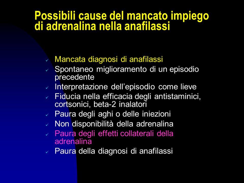 Possibili cause del mancato impiego di adrenalina nella anafilassi