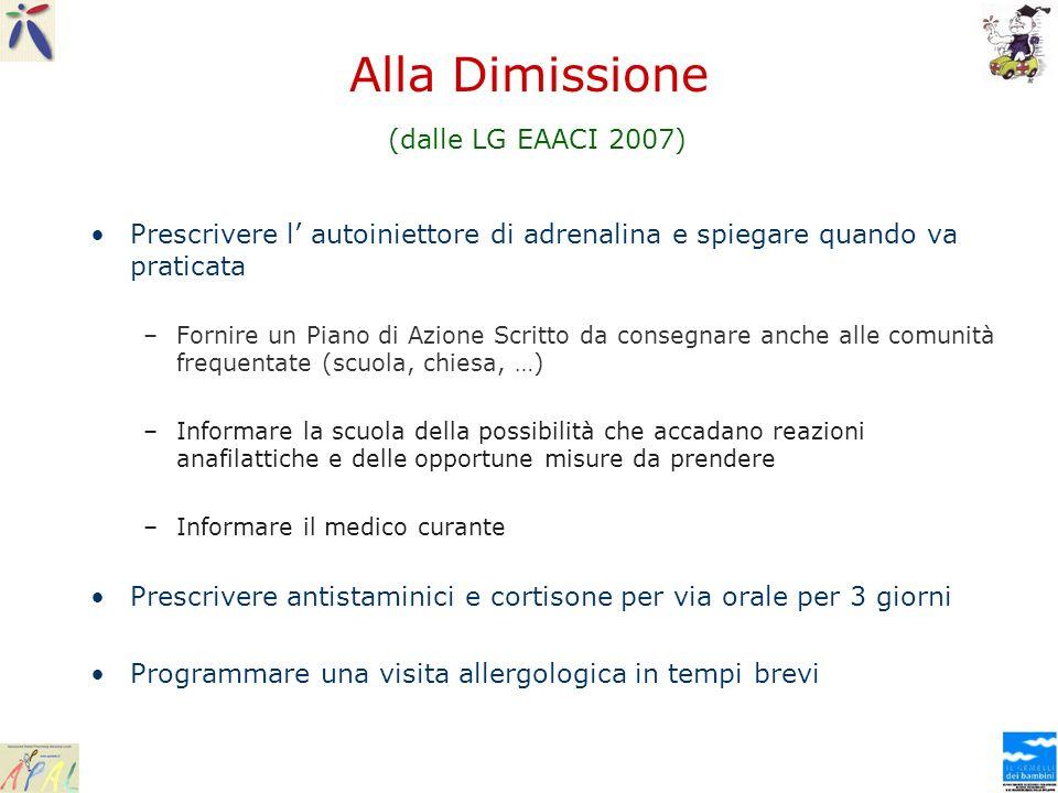 Alla Dimissione (dalle LG EAACI 2007)