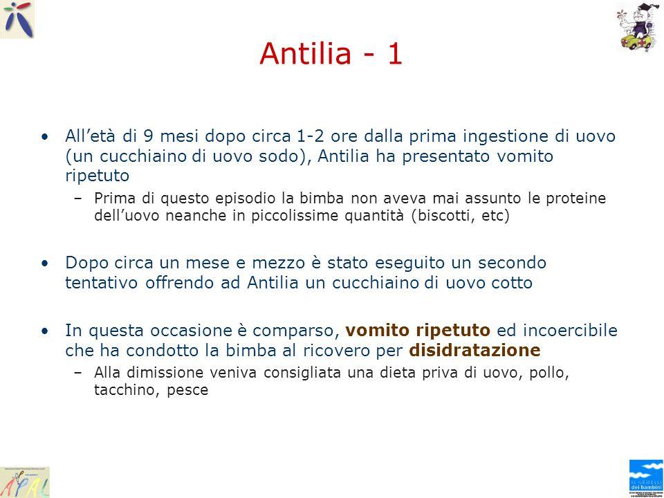 Antilia - 1 All'età di 9 mesi dopo circa 1-2 ore dalla prima ingestione di uovo (un cucchiaino di uovo sodo), Antilia ha presentato vomito ripetuto.