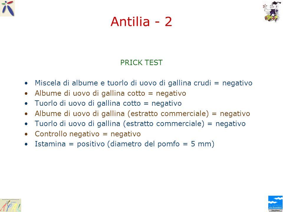 Antilia - 2 PRICK TEST. Miscela di albume e tuorlo di uovo di gallina crudi = negativo. Albume di uovo di gallina cotto = negativo.