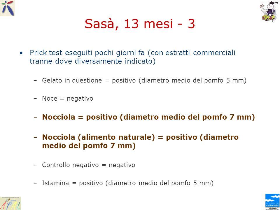 Sasà, 13 mesi - 3 Prick test eseguiti pochi giorni fa (con estratti commerciali tranne dove diversamente indicato)