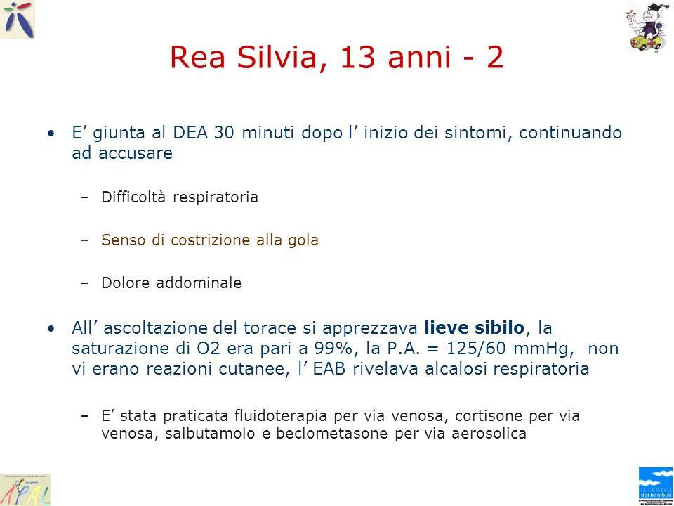 Rea Silvia, 13 anni - 2 E' giunta al DEA 30 minuti dopo l' inizio dei sintomi, continuando ad accusare.