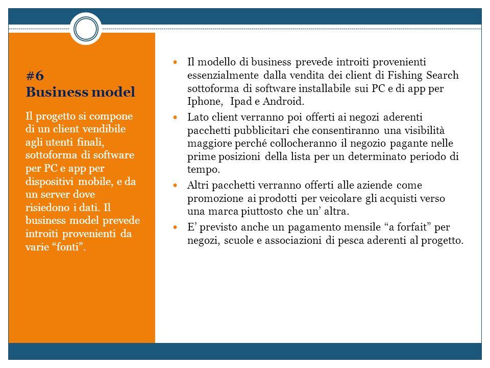 Il modello di business prevede introiti provenienti essenzialmente dalla vendita dei client di Fishing Search sottoforma di software installabile sui PC e di app per Iphone, Ipad e Android.