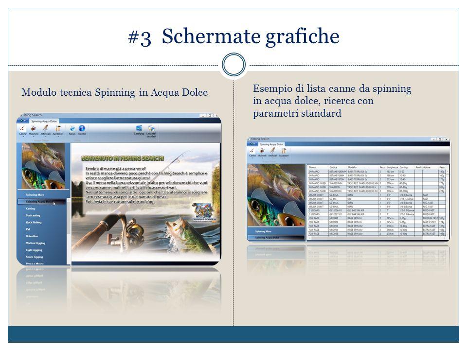 #3 Schermate grafiche Esempio di lista canne da spinning in acqua dolce, ricerca con parametri standard.