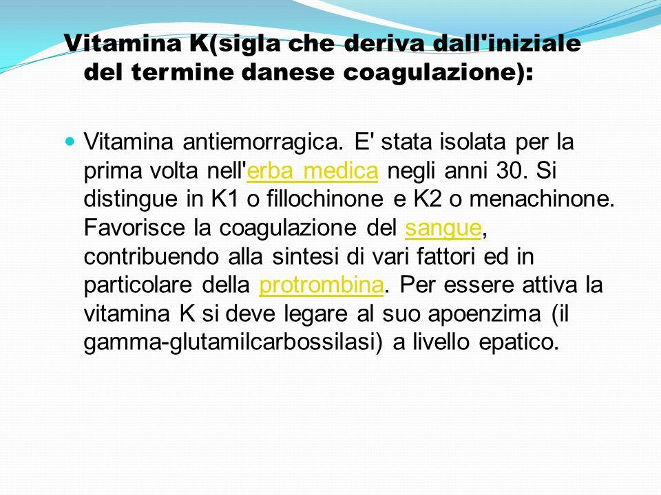 Vitamina K(sigla che deriva dall iniziale del termine danese coagulazione):