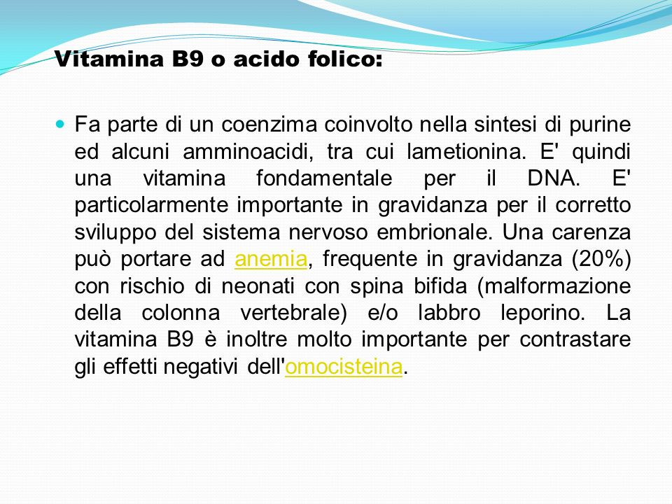Vitamina B9 o acido folico: