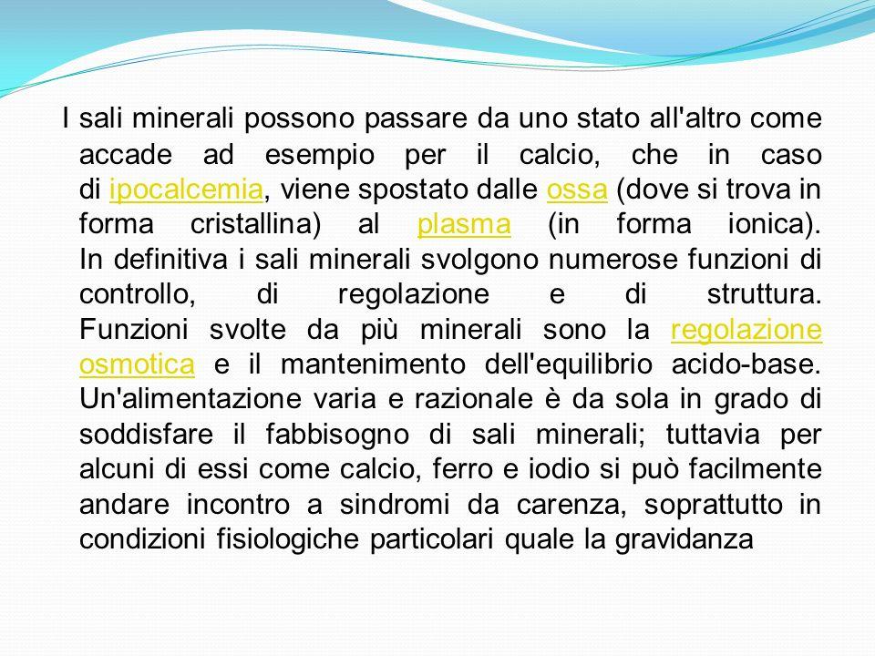 I sali minerali possono passare da uno stato all altro come accade ad esempio per il calcio, che in caso di ipocalcemia, viene spostato dalle ossa (dove si trova in forma cristallina) al plasma (in forma ionica).