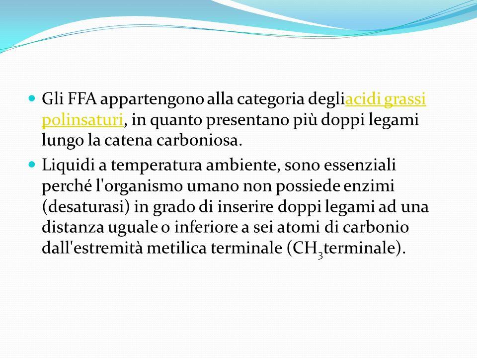 Gli FFA appartengono alla categoria degliacidi grassi polinsaturi, in quanto presentano più doppi legami lungo la catena carboniosa.
