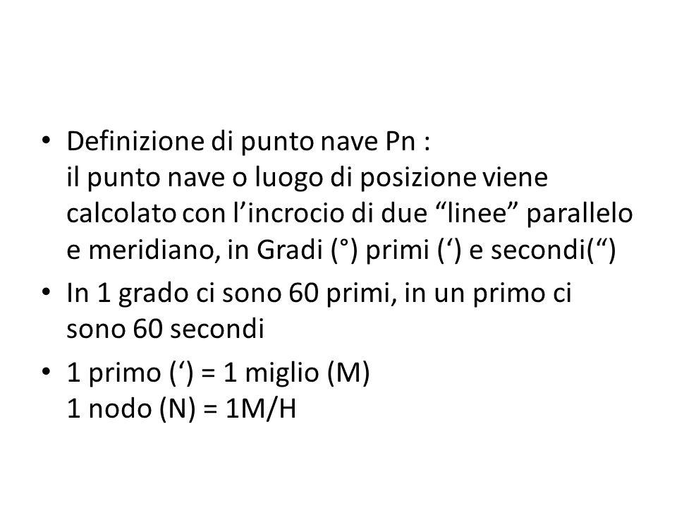 Definizione di punto nave Pn : il punto nave o luogo di posizione viene calcolato con l'incrocio di due linee parallelo e meridiano, in Gradi (°) primi (') e secondi( )