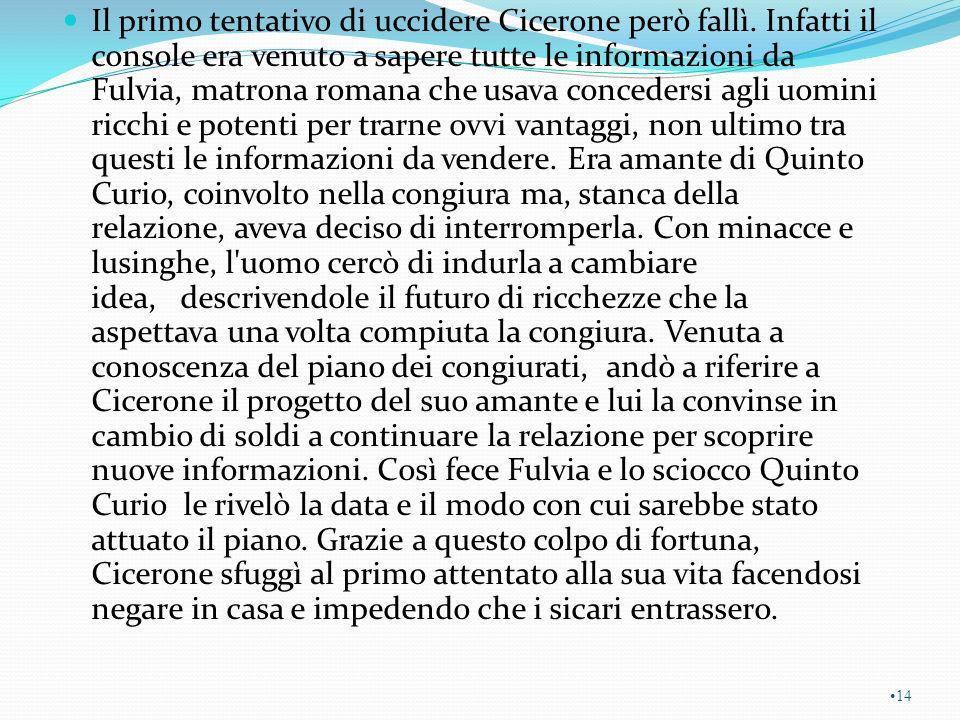 Il primo tentativo di uccidere Cicerone però fallì