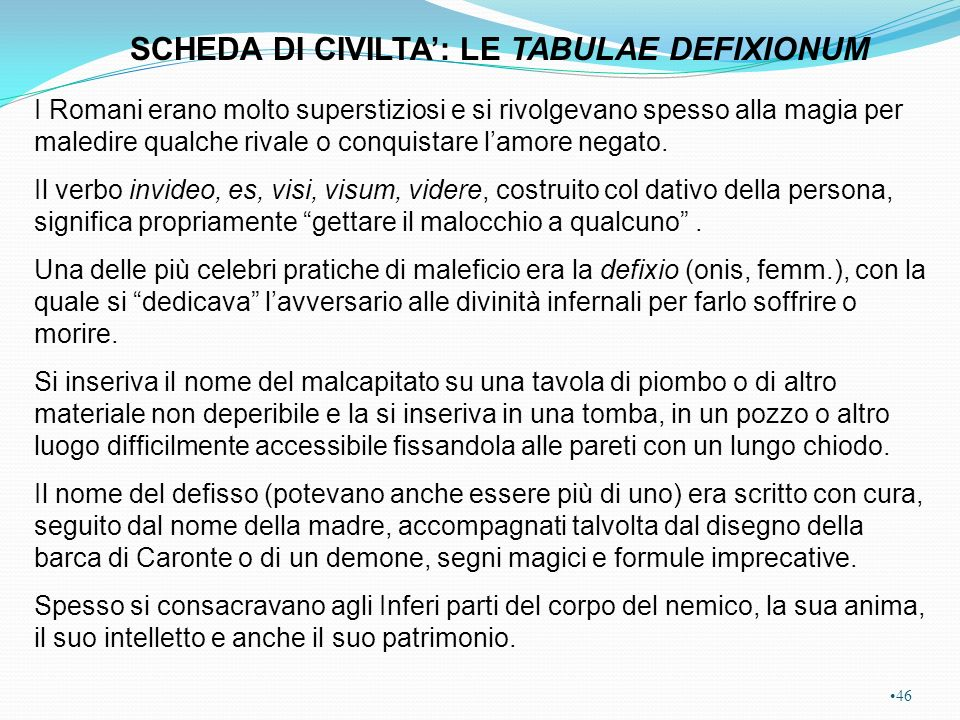 SCHEDA DI CIVILTA': LE TABULAE DEFIXIONUM