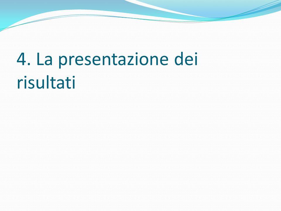 4. La presentazione dei risultati