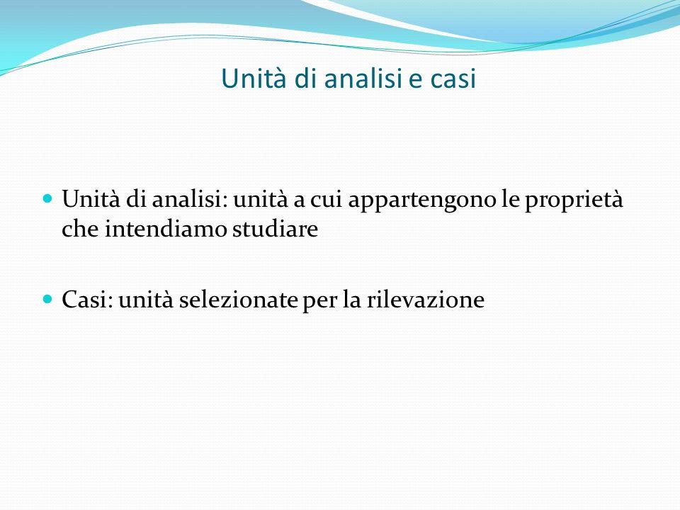 Unità di analisi e casi Unità di analisi: unità a cui appartengono le proprietà che intendiamo studiare.