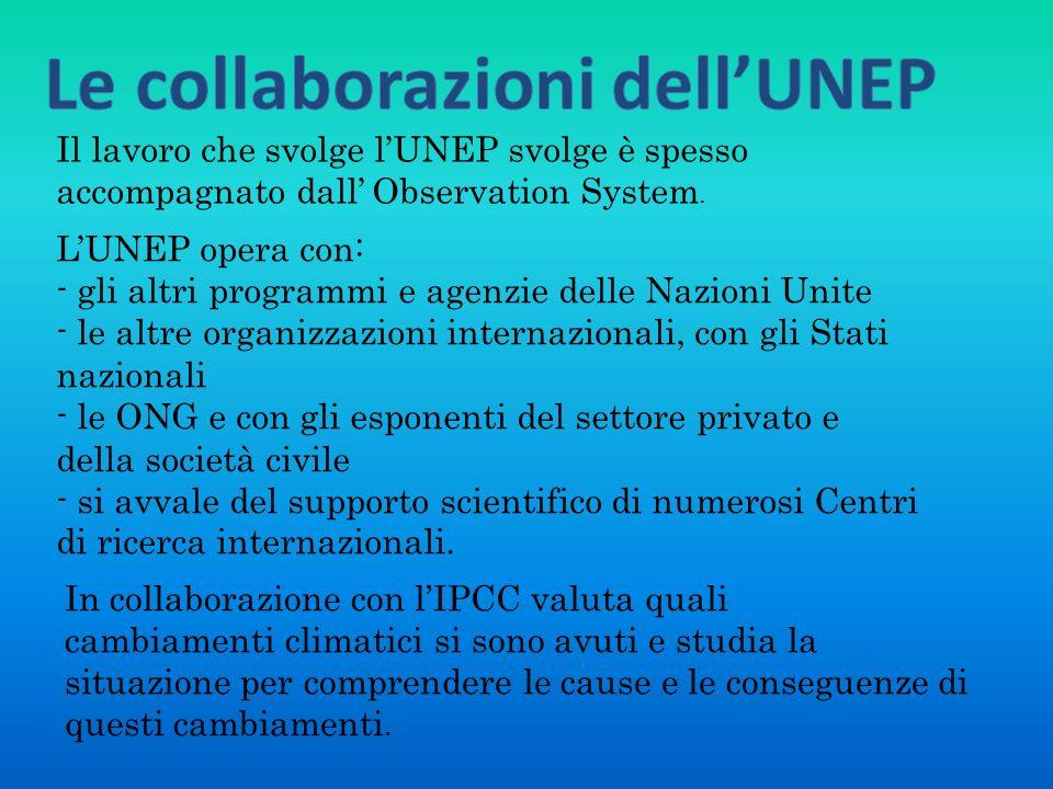 Le collaborazioni dell'UNEP