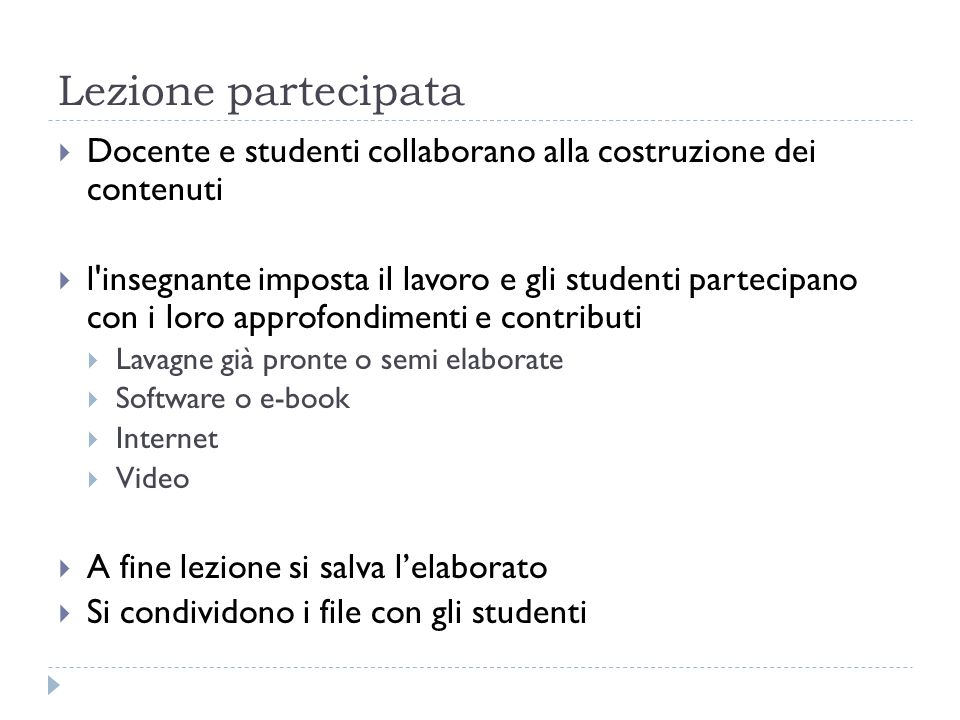 Lezione partecipata Docente e studenti collaborano alla costruzione dei contenuti.